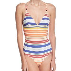 Stella McCartney V-Neck Striped One-Piece Swimsuit
